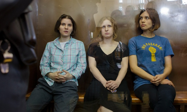 Members of the punk protest band Pussy Riot, on trial in 2012