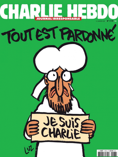 "Cover image of Charlie Hebdo's ""survivors issue"""