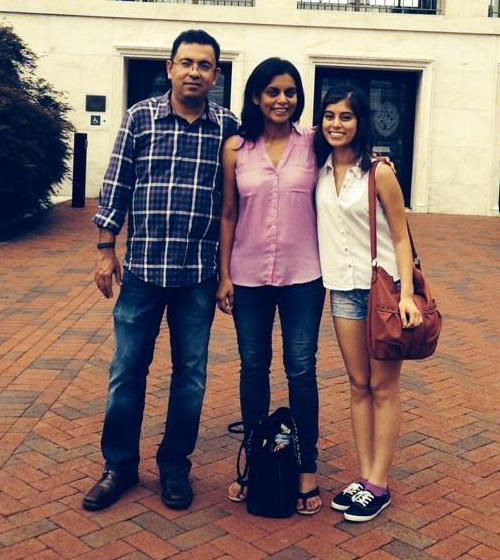 Avijit Roy with his wife Rafida Ahmed Bonya and daughter Trisha Ahmed