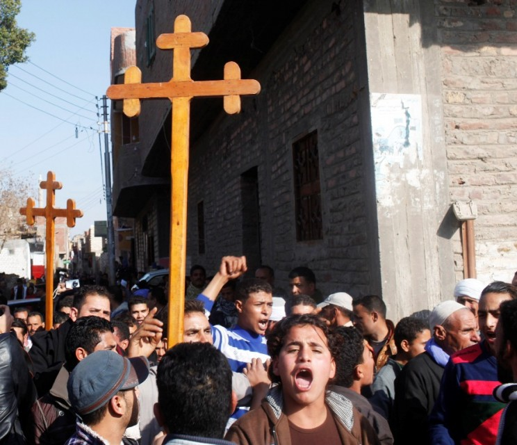 Coptic Christians protest the killing of Copts