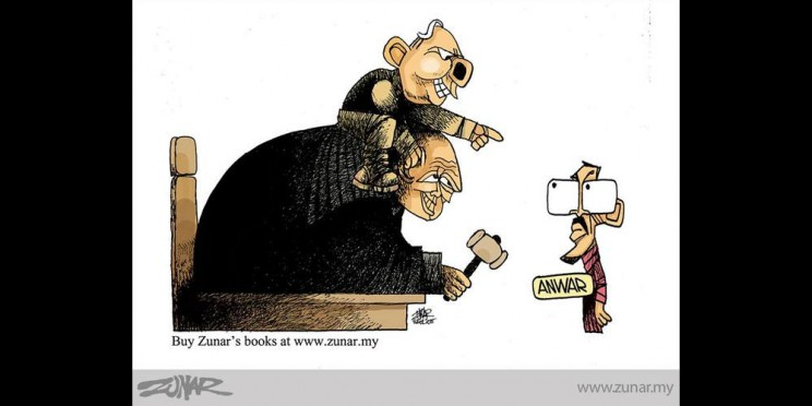 """Caption from CPJ: """"Zunar depicts Malaysian Prime Minister Najib Razak on the back of a judge who is pointing a gavel at opposition politician Anwar Ibrahim. The drawing is Zunar's commentary on criminal sodomy charges brought against Anwar, which the cartoonist sees as political."""""""
