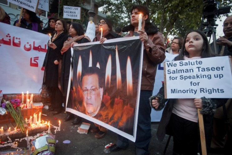 A protest and vigil after the assassination of Salman Taseer, Islamabad, Pakistan January 2011