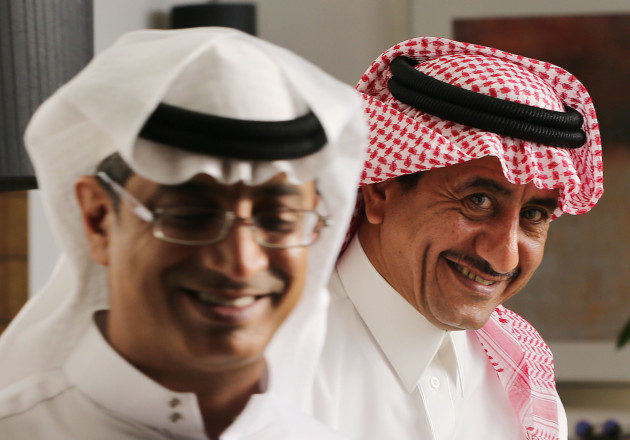 Selfie's head writer and star Khalaf Al-Harbi (front) and Naser Al-Qasabi (rear)