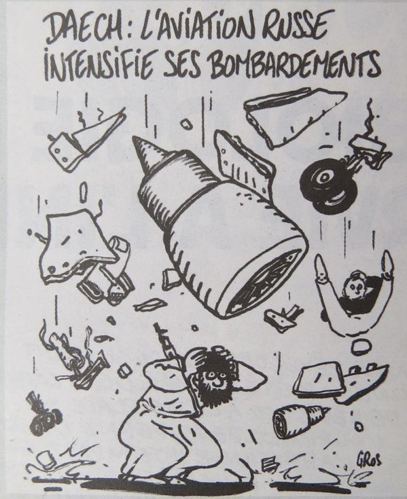 "With trademark dark humour, the Charlie Hebdo cartoon highlights the retaliatory nature of the apparent Jihadist attack on the Russian plane, with the caption, ""ISIS: Russian aviation is intensifying bombardments."""